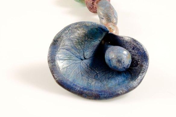 Close up blue flower bell set